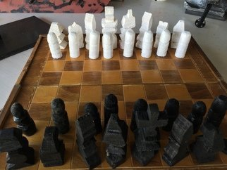 Themis Koutras: 'chess', 2019 Woodworking Art, Architecture. This are hand made chess pieces are sold together note the board is not sold also sell other games ask me about it note that there are 16 pieces on each side in chess the pieces are different sises because they are different pieces to the game the height of ...