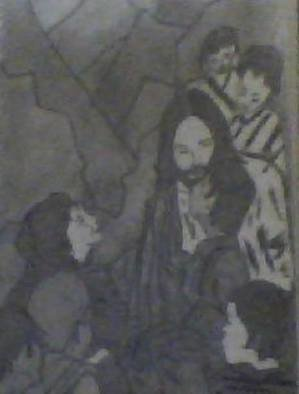 Themis Koutras: 'jesus christ little children', 2017 Pencil Drawing, Christian. This is a picture of JESUS CHRIST in the market place with little childrensold in prints sent by e mail cost for any of my prints 50. 00 U S each...