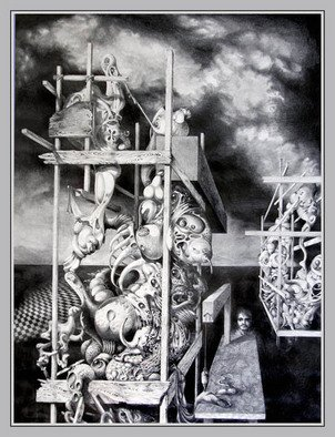 Otto Rapp: 'Ctulhu Monuments', 1980 Pencil Drawing, Surrealism.  Overall size with mat and frame, image size is 18 x 24 inches ...