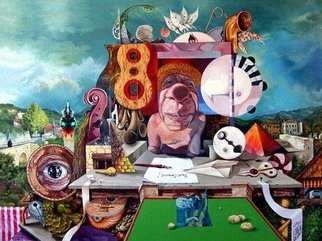 Otto Rapp: 'Pablos Last Concert', 1990 Acrylic Painting, Surrealism.  Picasso at his most playful, surrounded by odds and ends he refused to throw out, intuitively playing an assortment of out of tune musical instruments for the enjoyment of himself and with no regard to the sensitive ears of innocent bystanders.  ...