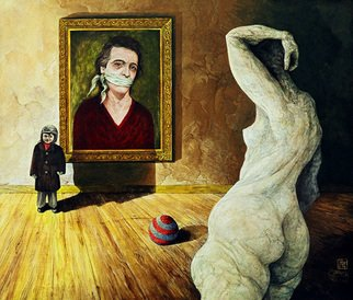Otto Rapp: 'The Visitor', 1994 Acrylic Painting, Surrealism.