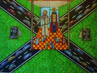 Theodore Kennett Raj: 'gas  oh  lean', 2009 Other Painting, Humor.  this pictures dipicts the future of gasolean when petrol gets scares and lawlessness begins around a few petrol heads. ...