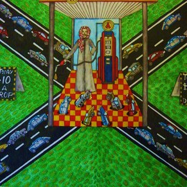 Theodore Kennett Raj: 'gas  oh  lean', 2009 Other Painting, Humor. Artist Description:  this pictures dipicts the future of gasolean when petrol gets scares and lawlessness begins around a few petrol heads. ...