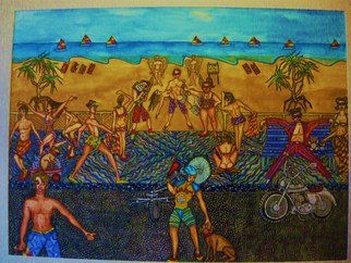 Theodore Kennett Raj: 'life on the corso', 2009 Other Painting, Humor.  this is a narrative which describes a futaristic view on the life around a beach where you cant swim unless you are a merman or a maid. ...