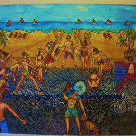 Theodore Kennett Raj: 'life on the corso', 2009 Other Painting, Humor. Artist Description:  this is a narrative which describes a futaristic view on the life around a beach where you cant swim unless you are a merman or a maid. ...