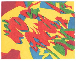 Theo Radic: 'Astonished', 2005 Linoleum Cut, Abstract.   Hand- printed...