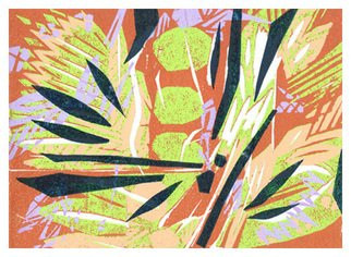Theo Radic: 'Eucalyptus', 2000 Woodcut, Landscape. Woodblock print inspired by eucalyptus trees. Hand printed. ...