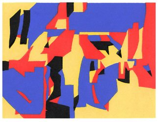 Theo Radic: 'Quartet', 1999 Linoleum Cut, Abstract.  Red, yellow, blue and black interact as a quartet. Hand- printed. ...