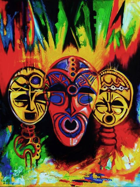 Egunlae Olumide Artwork African Masks Original Painting