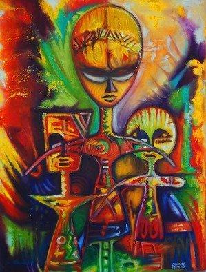 Artist: Egunlae Olumide - Title: akuaba dolls - Medium: Oil Painting - Year: 2013