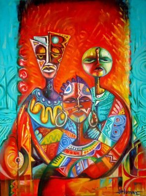 Artist: Egunlae Olumide - Title: baba, mama and me - Medium: Oil Painting - Year: 2012