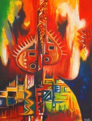 Artist: Egunlae Olumide - Title: the twins - Medium: Oil Painting - Year: 2013