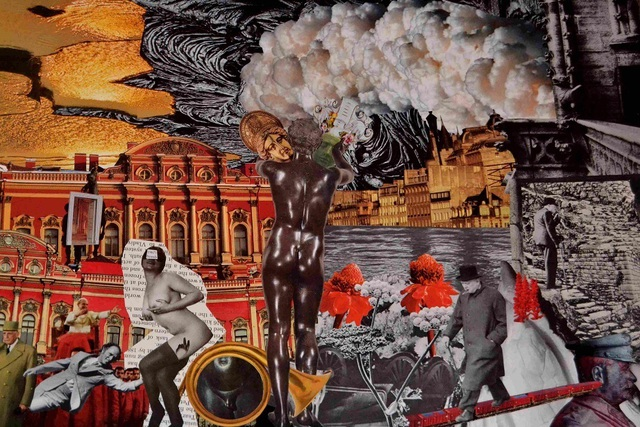 Andrew Mclaughlin  'In The Sweat Of The Sun, On The Flesh Of The Gods ', created in 2012, Original Collage.