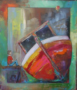 Thierry Merget: 'Bateau 9', 2016 Acrylic Painting, Surrealism. bateau, boat, child,...