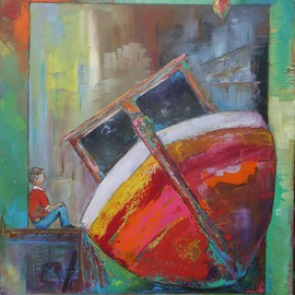 Thierry Merget: 'Bateau 9', 2016 Acrylic Painting, Surrealism. Artist Description: bateau, boat, child,...