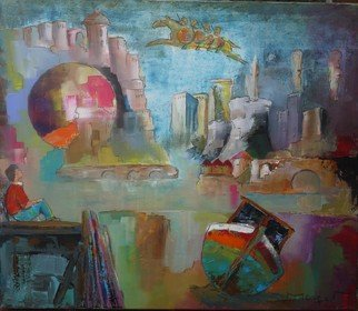 Thierry Merget: 'Le cheval Bayard 1', 2016 Acrylic Painting, Surrealism.        horses, liberti? 1/2, cheval de troie, grafity, , bridge, chess child, boat, tower, balloon, centrale nuclear,                          blue horsemen, tower, travel, bridge, forest, books, balloon, horse, chess, babel, window, factory, child, girl, boat, history, red horse, castle, babel, bridge, stair, ,                      chess, tower, tree, forest, miting, dialogue, book, reader, woman, girl, dream, boat, monument...