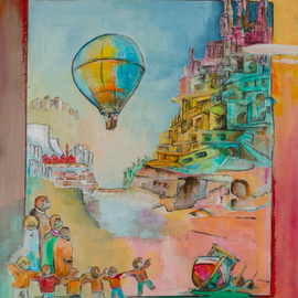 Thierry Merget: 'Les chemins de la liberte 5', 2015 Acrylic Painting, Surrealism. Artist Description:           balloon, horse, babel, window, factory, child, girl, boat, history, red horse, castle, babel, bridge, stair, ,                           autumn, spring, saison, sumer, winter, boat, observatory, baloon,           factory, stair, window, box, workshop,                     ...