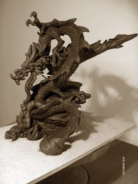 Artist Chaizhiwei Chaizhiwei. ' China Dragon  And  Girl ' Artwork Image, Created in 2007, Original Sculpture Bronze. #art #artist