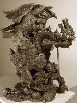 Chaizhiwei Chaizhiwei Artwork dragon  and  men , 2007 Bronze Sculpture, undecided