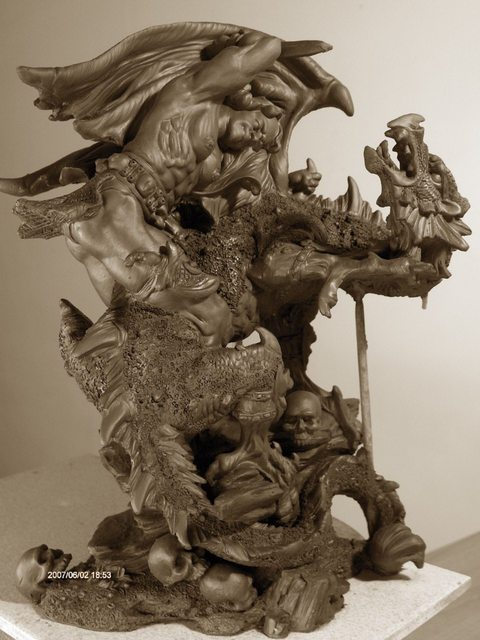Chaizhiwei Chaizhiwei  'Dragon  And  Men ', created in 2007, Original Sculpture Bronze.