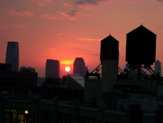 Color Photograph by Russel Nelson titled: sundown over lower new york, created in 2009