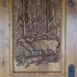 Thom Loveless Artwork Elk Door, 2012 Wood Sculpture, Animals