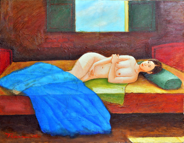Nguyen Huu Thuan  'A Girl On The Bed', created in 2012, Original Painting Acrylic.