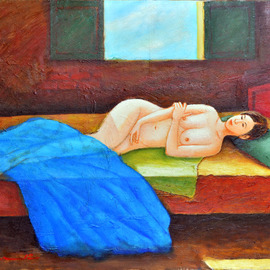 Nguyen Huu Thuan: 'A girl on the bed', 2012 Oil Painting, nudes. Artist Description:  I was inspired by countryside girl when I show her my painting photo, And then she willing to lie for me sketched in 2011 in Hoa Binh province. She is beauty and pure body make me paint again many times until I feel perfect mysefl ...