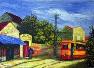 Nguyen Huu Thuan: 'Hanoi old quater in 1965', 2010 Oil Painting, Landscape. I draw this painting following my memo when I was young live in Hanoi - Vietnam during decade of 1960s to early 1980s. Hanoi changing very quick but I would like to expressing the old street with Tramcar before sofar not any more...