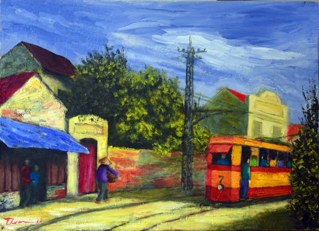 Nguyen Huu Thuan  'Hanoi Old Quater In 1965', created in 2010, Original Painting Acrylic.