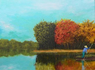 Nguyen Huu Thuan: 'River in Autumn', 2014 Oil Painting, Landscape. Artist Description: Hoang Long is the name of river, a branch of RED river delta in the North of Vietnam, provide the water for many rice fields and provinces...