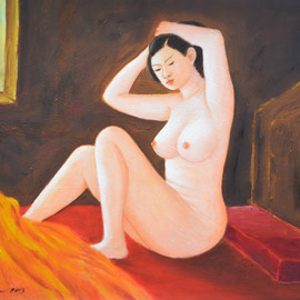 Nguyen Huu Thuan: 'Take care hair ', 2013 Oil Painting, nudes. Artist Description: A girl I metin 2011 in Hoa Binh province. I showed her some my painting pictures and then she willing for me sketched. I was inspired by pure and beauty of her body and the I painted from 2013 until I feel this painting perfect mysefl...
