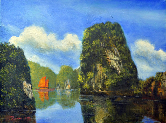 Nguyen Huu Thuan  'A Normal Day In Halong Bay', created in 2011, Original Painting Acrylic.