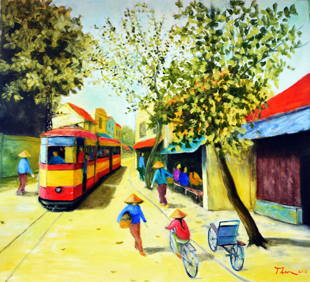Nguyen Huu Thuan  'Hanoi In The Last Century', created in 2007, Original Painting Acrylic.