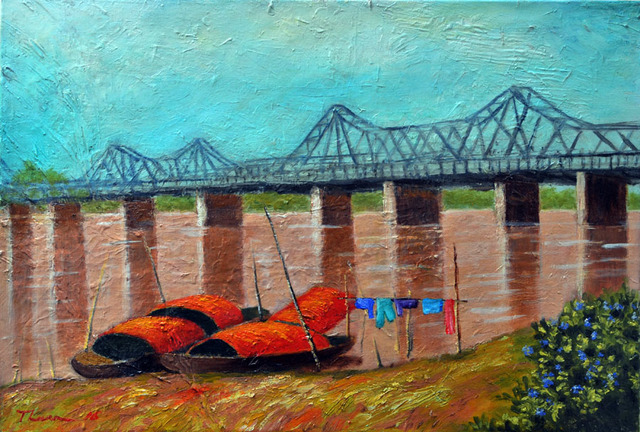 Nguyen Huu Thuan  'The Long Bien Bridge', created in 2016, Original Painting Acrylic.