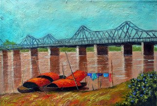 Nguyen Huu Thuan: 'the long bien bridge', 2016 Oil Painting, Landscape. Long Bien bridge was made by French governor Paul Dume in 1898 - 1902.  It is crossing Red river from South to North of Hanoi city...