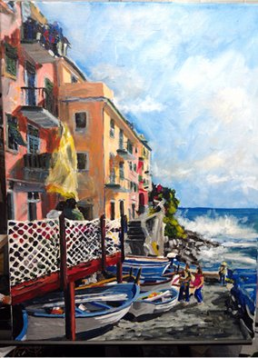 Artist: Michael Tieman - Title: Tide Watch, Riomaggiore Italy - Medium: Acrylic Painting - Year: 2012