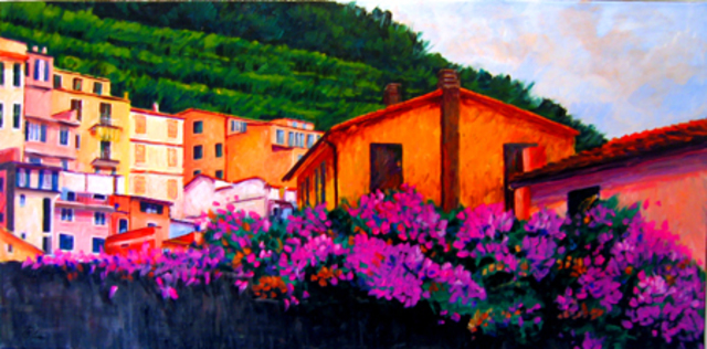 Michael Tieman  'Vineyards And Blossoms,  Manarola, Italy', created in 2012, Original Painting Acrylic.