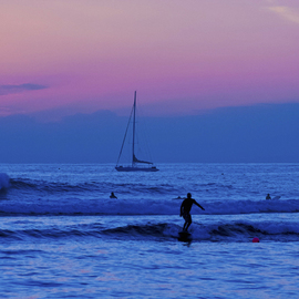 Tiger Lily Jones Artwork Surfing in Twilight, 2010 Color Photograph, Beach
