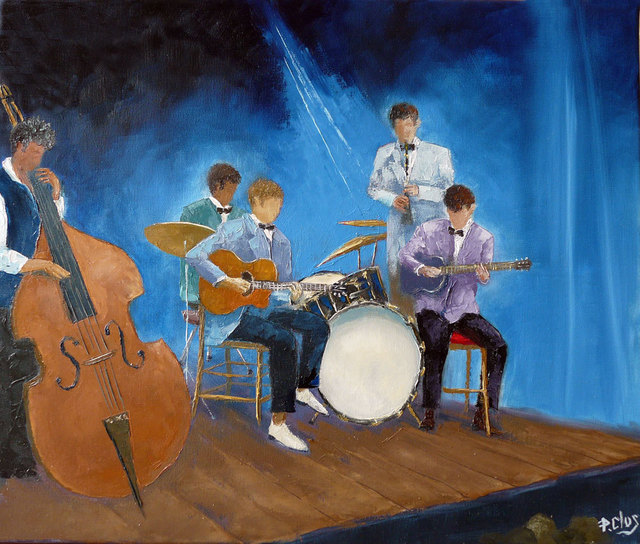 Artist Pascal Clus. 'Jazz In Blue' Artwork Image, Created in 2011, Original Painting Oil. #art #artist