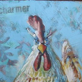E. Tilly Strauss Artwork Charmer, Rooster Eyes, 2008 Acrylic Painting, Farm