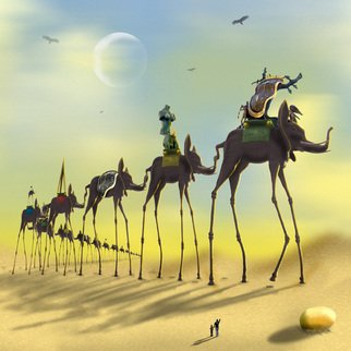 Mike Mcglothlen: 'On The Move', 2010 Digital Art, Surrealism.   bust, breast, ants, crutches, sand, birds, photographer, dali, surreal, fine art, square, supports,  elephants, clocks, ...