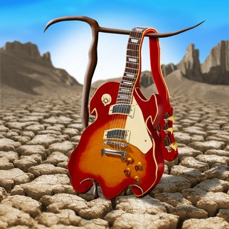 Mike Mcglothlen: 'Soft Guitar', 2010 Digital Art, Surrealism.  guitar, sand, birds, photographer, dali, surreal, fine art, square, desert, cracks, branches, crutches,   ...