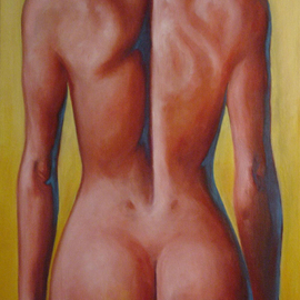 Tim Ezell: 'Nude Beach', 1999 Oil Painting, nudes. Artist Description: I loved the play of the muscles on this woman' s back. ...