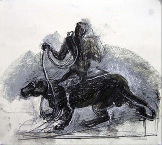 Timothy King: 'Dogmatic Rider 1', 2004 Pastel, Satire.