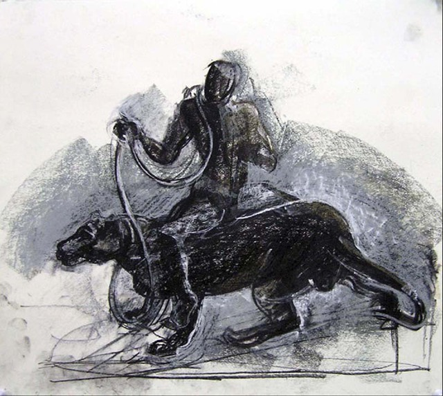 Timothy King  'Dogmatic Rider 1', created in 2004, Original Pastel Oil.