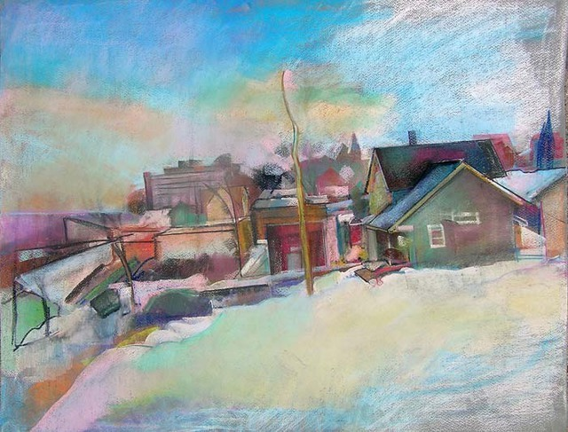 Artist Timothy King. 'Elgin Overlooking RR Fox River' Artwork Image, Created in 2008, Original Pastel Oil. #art #artist