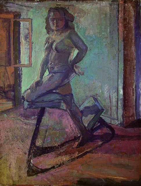 Timothy King  'Figure In Dinning Room', created in 2003, Original Pastel Oil.