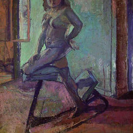 Timothy King: 'Figure in Dinning Room', 2003 Oil Painting, nudes.