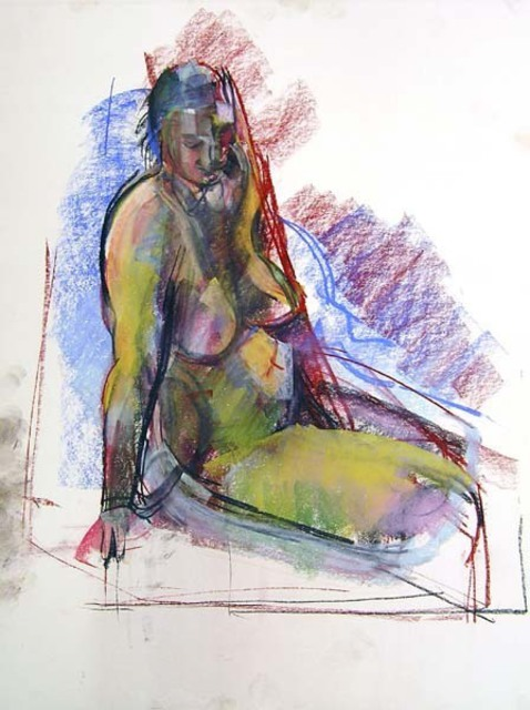 Timothy King  'Martha Nude Leaning On Arm', created in 2007, Original Pastel Oil.